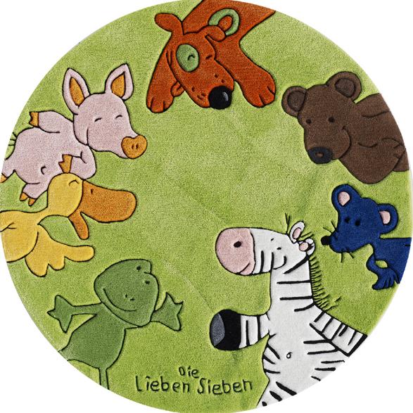 die lieben sieben kinder teppich rund gr n ko tex zertifiziert hund tiere b r zoo bauernhof. Black Bedroom Furniture Sets. Home Design Ideas