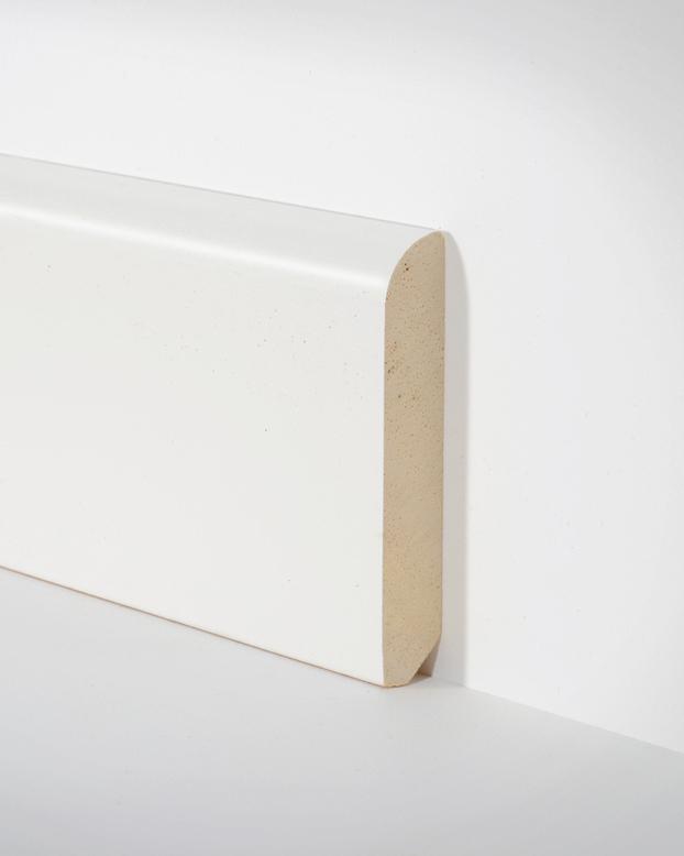 Turbo Hometrend Holz-Sockelleiste 10x58 mm Runde Kante Weiss lackiert  CP06
