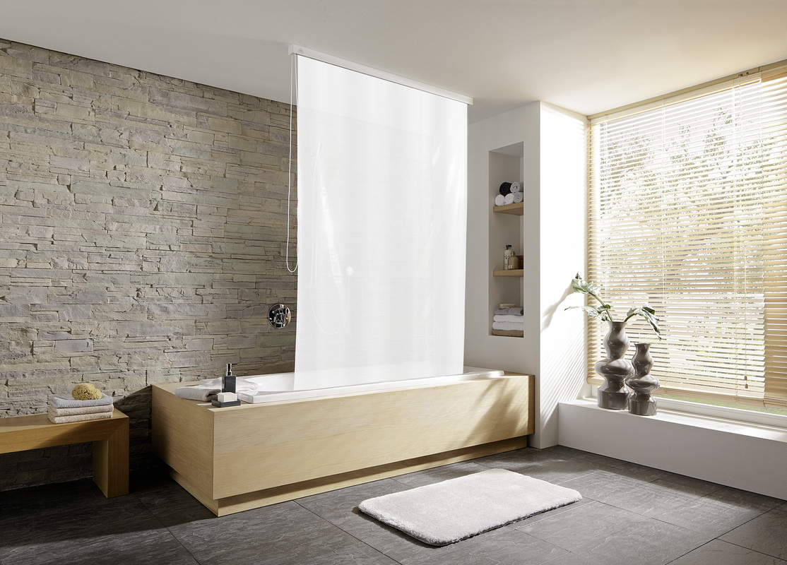kleine wolke dusch rollo f r leerkassette wei 128x240 cm. Black Bedroom Furniture Sets. Home Design Ideas