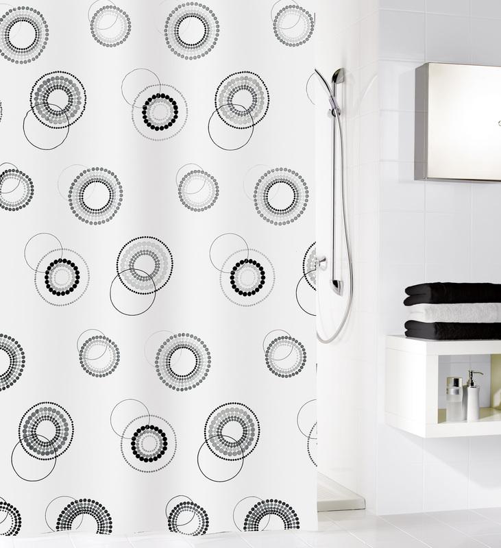 kleine wolke duschvorhang luna schwarz wei 180 x 200 cm breite x h he badaccessoires. Black Bedroom Furniture Sets. Home Design Ideas
