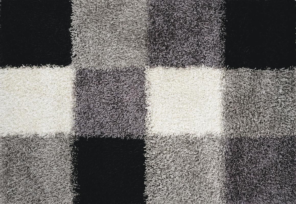 luxor living teppich faenza karo schwarz wei teppich hochflor teppich bei tepgo kaufen. Black Bedroom Furniture Sets. Home Design Ideas