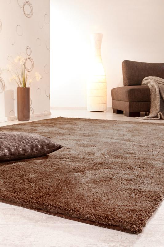 luxor living hochflor teppich monza braun hochflor teppich bei tepgo kaufen versandkostenfrei. Black Bedroom Furniture Sets. Home Design Ideas
