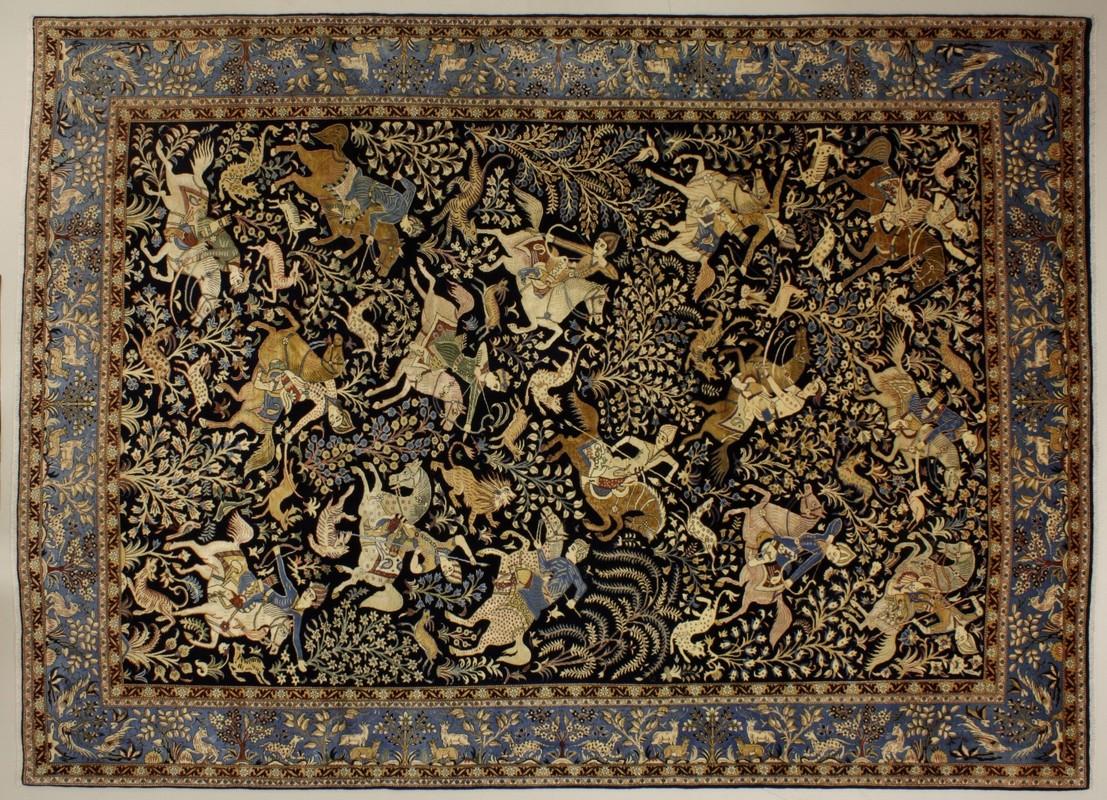 oriental collection ghom blau 75995 teppich orientteppiche bei tepgo kaufen versandkostenfrei. Black Bedroom Furniture Sets. Home Design Ideas