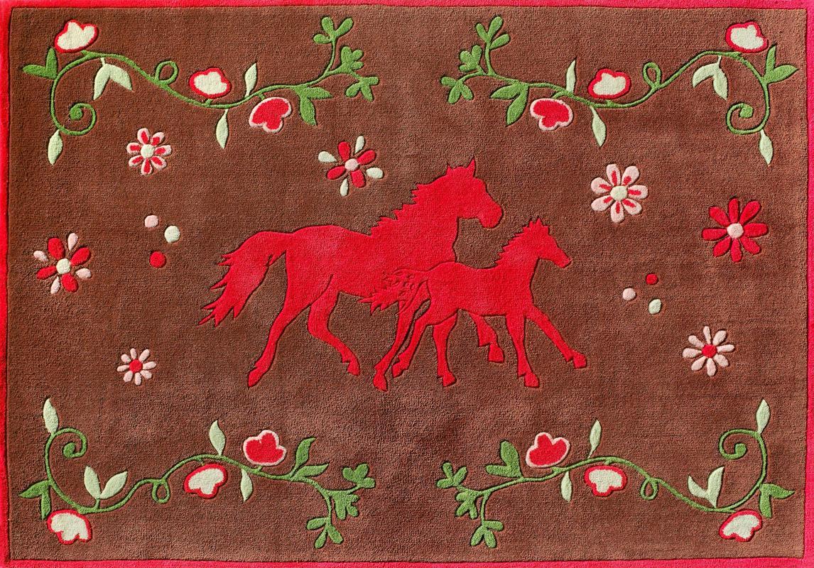 Kinderteppich braun  Pferdefreunde Pferde Teppich braun Blumenwiese Bauernhof Blumen ...