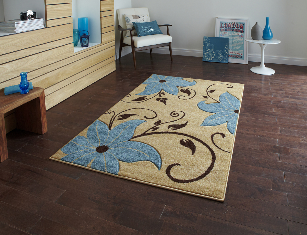 think rugs teppich verona oc15 beige blau designerteppich bei tepgo kaufen versandkostenfrei. Black Bedroom Furniture Sets. Home Design Ideas