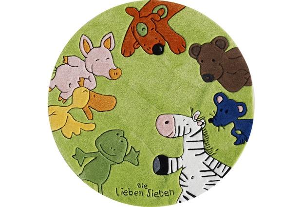 die lieben sieben kinder teppich rund gr n hund tiere b r. Black Bedroom Furniture Sets. Home Design Ideas