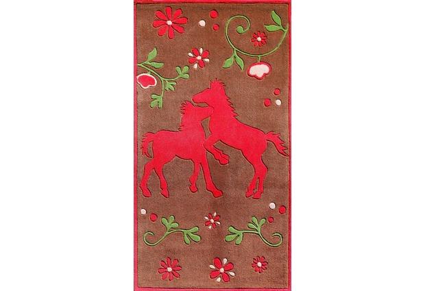 Pferdefreunde Pferde Teppich braun Pferd Tiere Blumenwiese